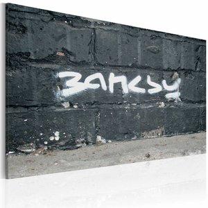 Schilderij - Banksy - Handtekening Grijs/Wit, 1luik, 40x60cm