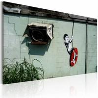 Schilderij - Banksy - Schommelen, 40x60cm , wanddecoratie , premium print op canvas