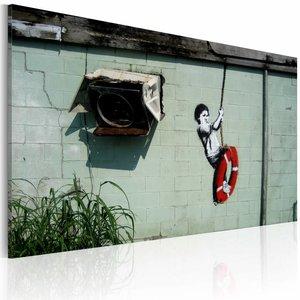 Schilderij - Banksy - Schommelen, Groen, 1luik, 40x60cm