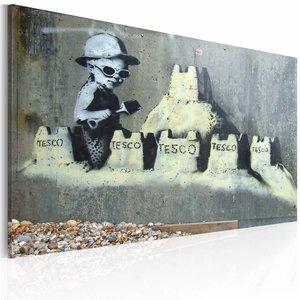 Schilderij - Sand Castle (Banksy), 60x40cm, 1 deel
