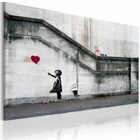 Canvas Schilderij - Meisje met de ballon (Banksy) 40x60cm, 1 deel