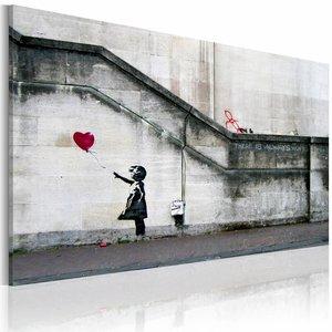 Schilderij - Meisje met de ballon (Banksy) 40x60cm , wanddecoratie , premium print op canvas