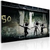 Schilderij - Banksy - TV Heads Dance, 40x60cm  , zwart wit , wanddecoratie , premium print op canvas