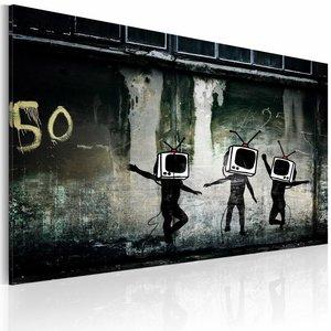 Schilderij - TV heads dance (Banksy), zwart/wit, 1 deel