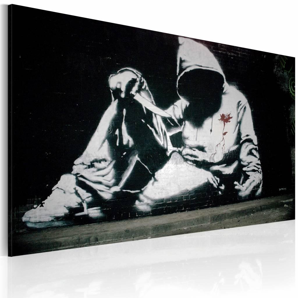 Schilderij - Banksy - Incognito Killer, 40x60cm , zwart wit , wanddecoratie , premium print op canva