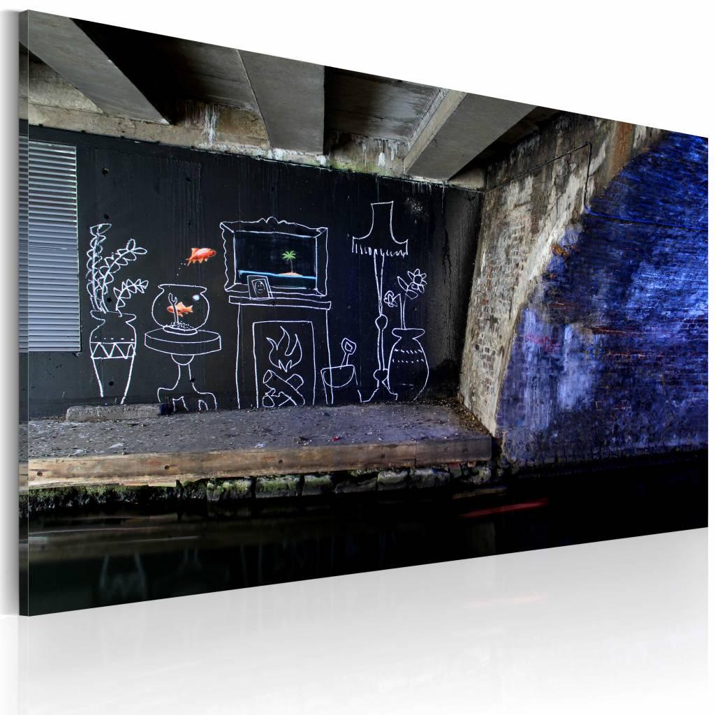Schilderij - Banksy - Mijn Huis, 40x60cm , wanddecoratie , premium print op canvas