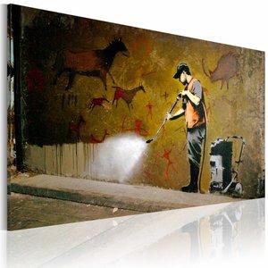 Schilderij - Banksy - Graffiti Verwijderen, 40x60cm , wanddecoratie , premium print op canvas