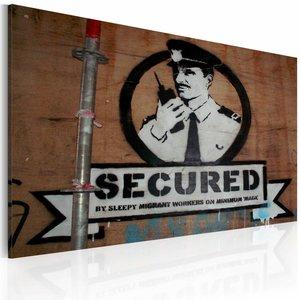 Schilderij - Banksy - Secured, Bruin/Zwart-Wit, 1luik, 40x60cm