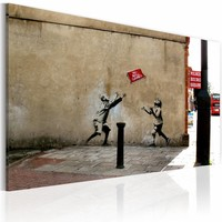 Schilderij - Banksy - No Ball Games, 40x60cm , wanddecoratie , premium print op canvas