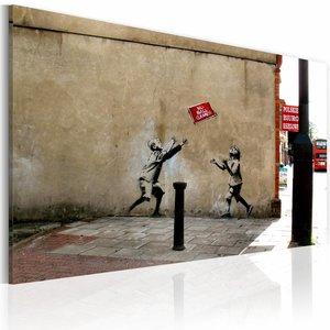 Schilderij - Banksy - No Ball Games, Beige, 1luik, 40x60cm