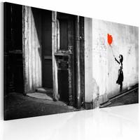 Schilderij - Banksy - Meisje met Ballon, 40x60cm , zwart wit rood ,wanddecoratie , premium print op canvas