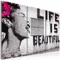 Schilderij - Life is beautiful, Banksy, zwart/wit, 3luik, 2 maten