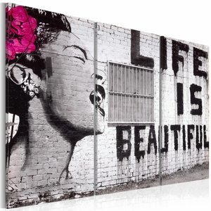 Schilderij - Banksy - Life is Beautiful, Zwart-Wit, 3luik , ,wanddecoratie , premium print op canvas