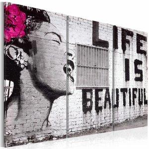 Schilderij - Banksy - Life is Beautiful, Zwart-Wit/Paars, 3luik