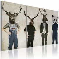 Schilderij - Mensen zijn ook Dieren, 3luik , beige zwart , ,wanddecoratie , premium print op canvas