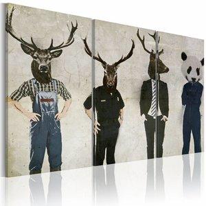 Schilderij - Mensen zijn ook Dieren, Zwart/Grijs, 3luik