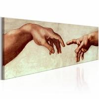 Schilderij - God's Vinger ,  michelangelo , beige bruin