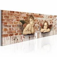 Schilderij - Rustende engelen , rood bruin , baksteen look ,  1 luik