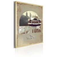Schilderij - New York - The Wonder City 60x40cm , beige