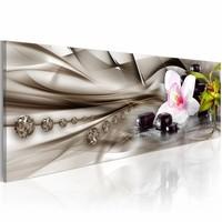 Schilderij - Zen compositie: orchidee, bamboe en stenen