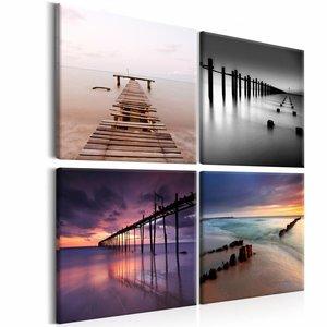 Schilderij - Collage steigers, pier , multi kleur , 4 luik , 3 maten