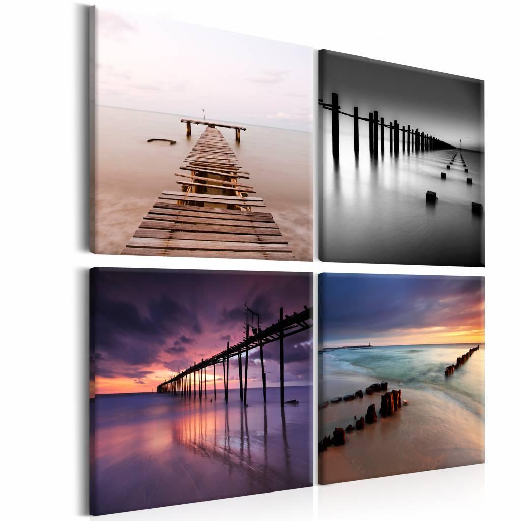 Schilderij - Collage steigers, pier , multi kleur , 4 luik