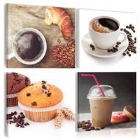 Schilderij - Ontbijt in 4 delen , wit bruin , 4 luik