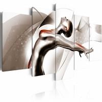 Schilderij - Gouden dans: She , wit goud look , 5 luik , 2 maten