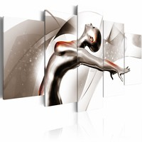 Schilderij - Gouden dans: She , wit goud look , 5 luik