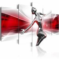 Schilderij - Dans van de vrouwelijkheid , rood wit , 5 luik