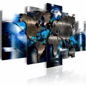 Schilderij - Azuur, wereldkaart, 5 luik , 2 maten , blauw bruin