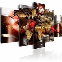 Schilderij - Robijn kleurig, wereldkaart , 5 luik  , multi kleur