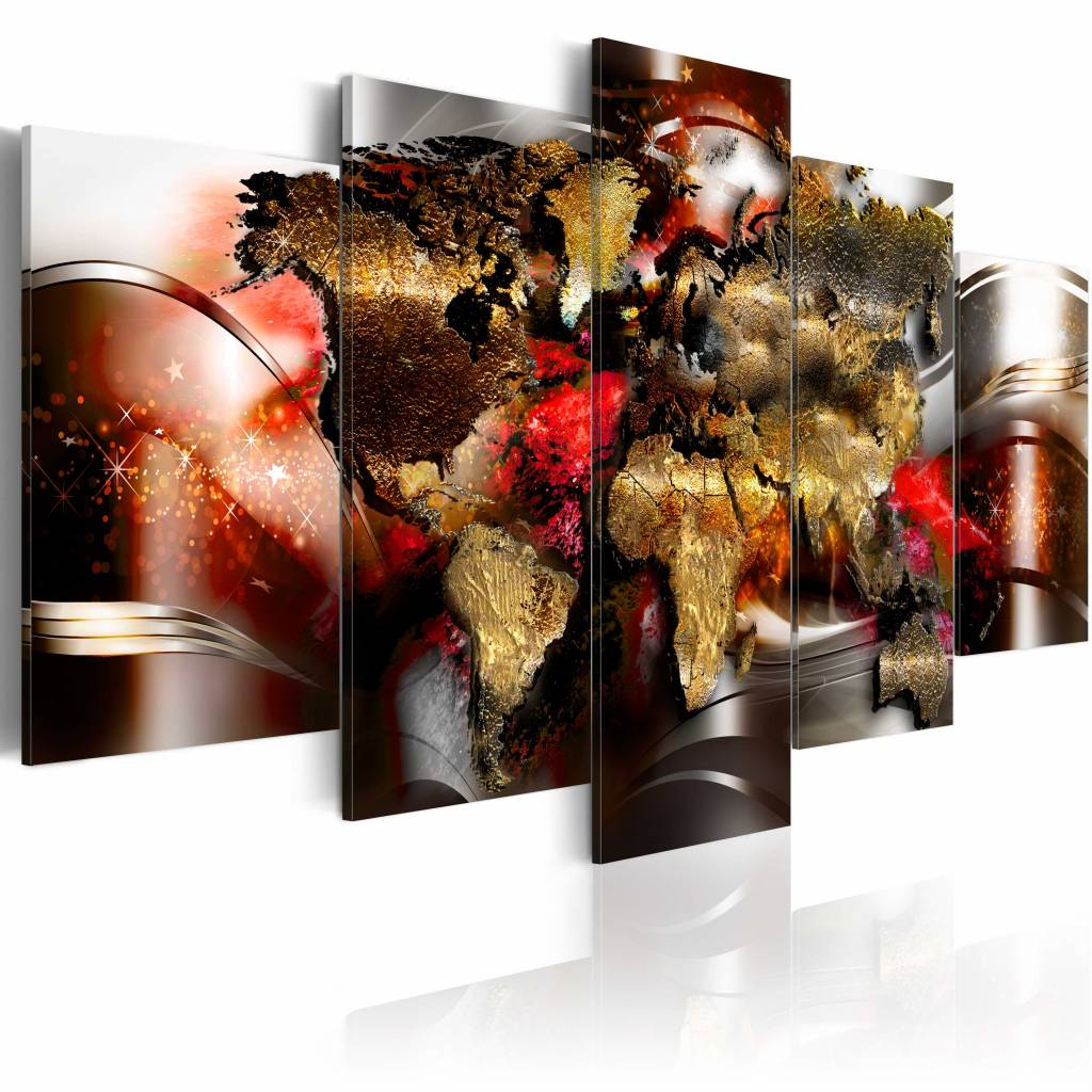 Schilderij - Robijn kleurig, wereldkaart , 5 luik , 2 maten , multi kleur