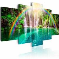 Schilderij - Regenboog en waterval , blauw groen , 5 luik