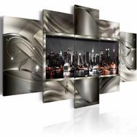 Schilderij - Nacht in New York II , zilver look , 5 luik