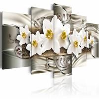 Schilderij - Bloemen op zilver , wit zilver look , 5 luik