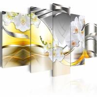 Schilderij - Bloemen van de toekomst , geel wit , 5 luik