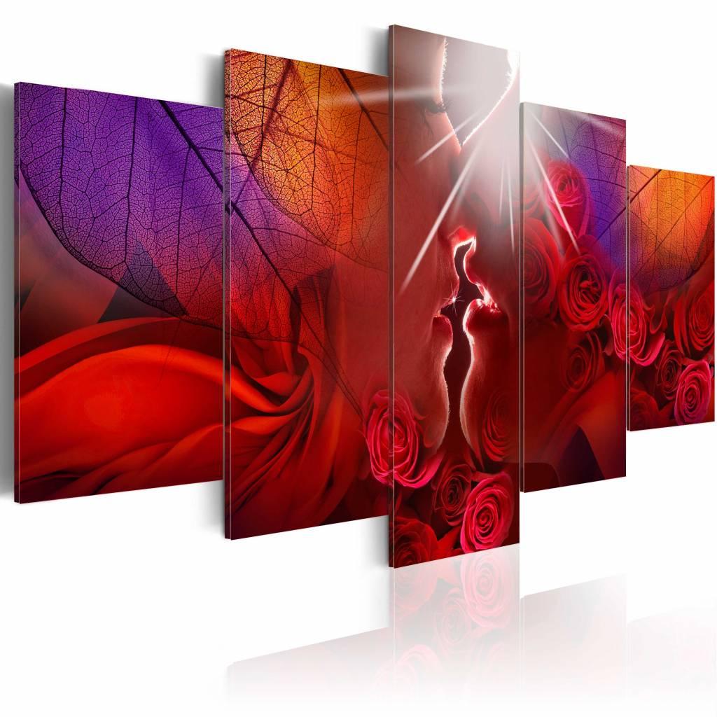 Schilderij - Kus van een roos , rood paars , 5 luik