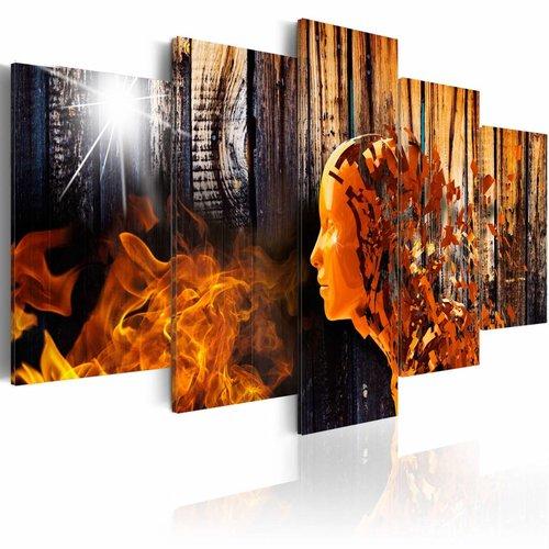 Schilderij - Een miljoen gedachten , oranje zwart , 5 luik