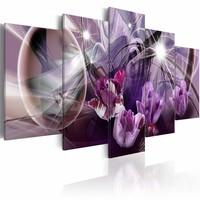 Schilderij - Paarse tulpen ,  multi kleur , 5 luik , 2 maten