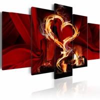 Schilderij - Hart in vlammen , zwart rood , 5 luik
