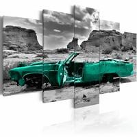 Schilderij - Groene Oldtimer , grijs , 5 luik