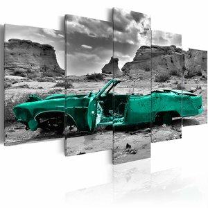 Schilderij - Green car