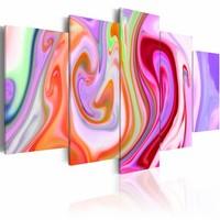 Schilderij -Pastel wolken , multi kleur , 5 luik