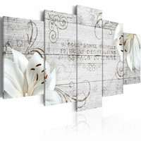 Schilderij - Witte Lelies op hout, 2 Maten, 5luik