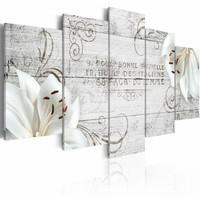 Schilderij - Witte Lelies op hout, houtlook,   5luik
