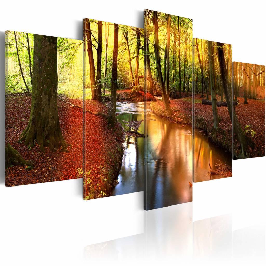 Schilderij - Stilte van het bos , geel oranje , 5 luik