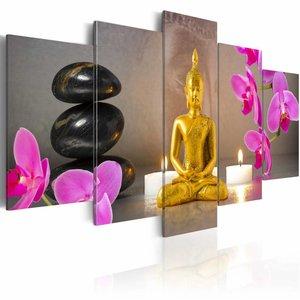 Schilderij - Gouden Boeddha , lila goud look , 5 luik , 2 maten
