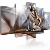Schilderij - Gouden koppel , goud zilver look , 5 luik