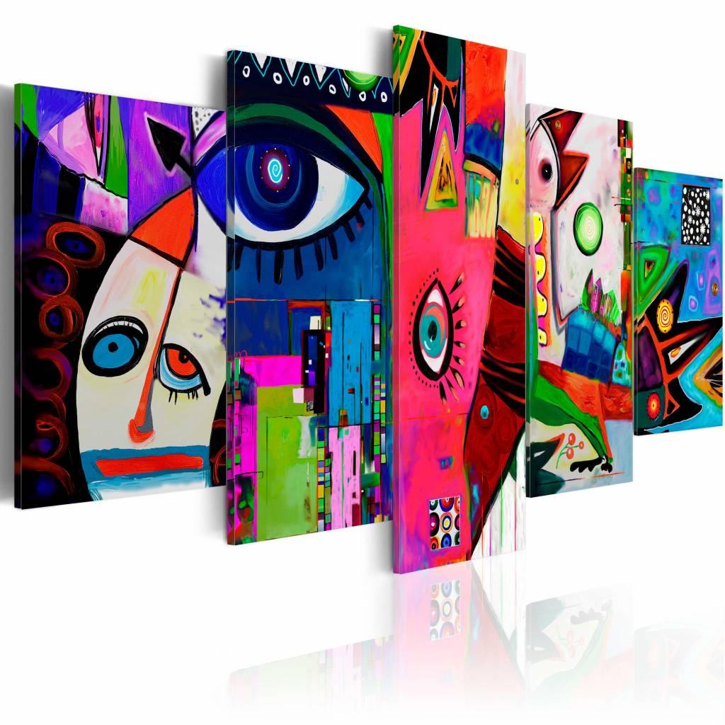 Schilderij - Elke dag circus , multi kleur , 5 luik